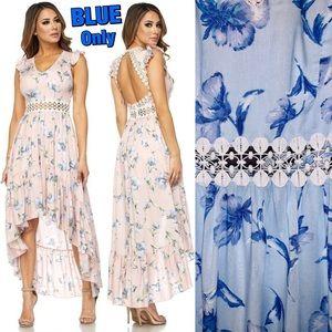 💙Flowy Hi-Low Crochet Ruffle Maxi Dress